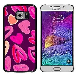 Corazón rosado del amor de la acuarela púrpura melocotón - Metal de aluminio y de plástico duro Caja del teléfono - Negro - Samsung Galaxy S6 EDGE (NOT S6)