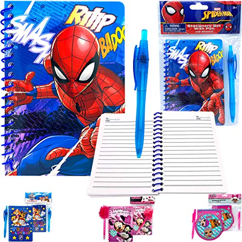 Kids Boys Marvel Superheroes Spiderman Basic Stationery Gift Set - Spiral Lined Page Journal Memo Notebook Diary Pad with Pen for Back to School Supplies Birthday Goodies Stocking Suffers