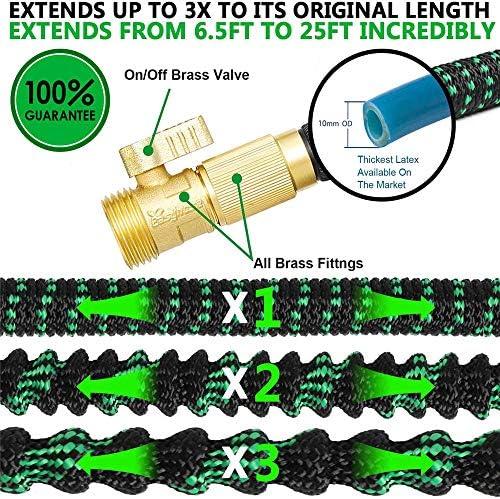 HONGFU Garden Hose 100ft 30m Strongest Double Latex Inner Tube Prevent Leaking Magic Garden Hosepipe with 9Function Spray Gun+Solid Brass Fittings (100 Feet/ 30M Black)