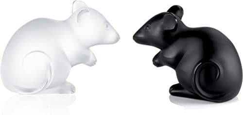 Lalique Crystal Set of Clear and Black Mouse Sculptures Small