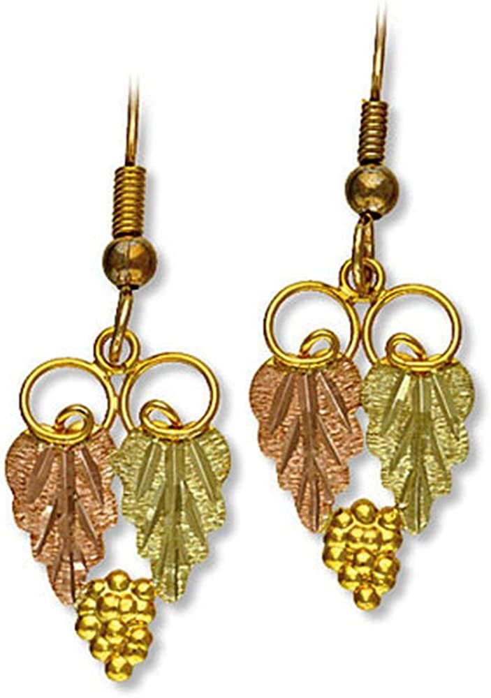 Landstroms 10k Black Hills Gold Dangle Earrings for Pierced Ears G L01294