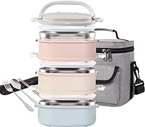 Lunch Box Stainless Steel Food Containers 3 Stackable Square Bento Box with Insulated Lunch Bag Spoon and Fork Set for School Office Or Picnic (3 colors)