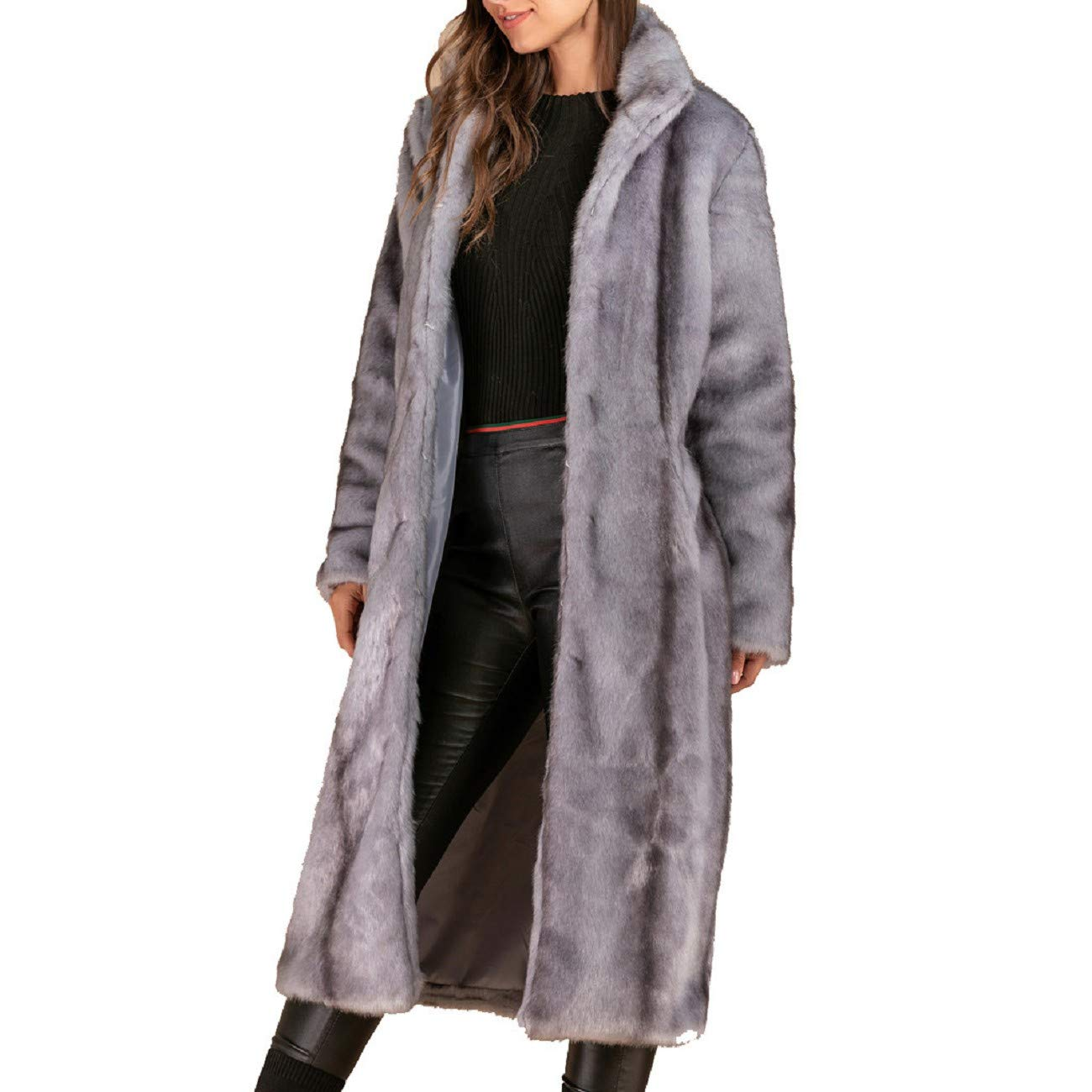 Reokoou Ladies Faux Fur Coat Casual Long Sleeve Parka Plus Size Jacket Luxury Elegant Long Trench Winter Warm Overcoat Gray by Reokoou