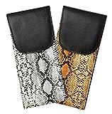 2 Pack Soft Eyeglass Case With Velcro Flap, Slip In Glasses Holder For Women In Faux Snake Skin, Gray & Light Brown