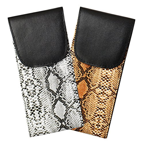 2 Pack Soft Eyeglass Cases, Slip In Style With Velcro Closure, Faux Snake Skin