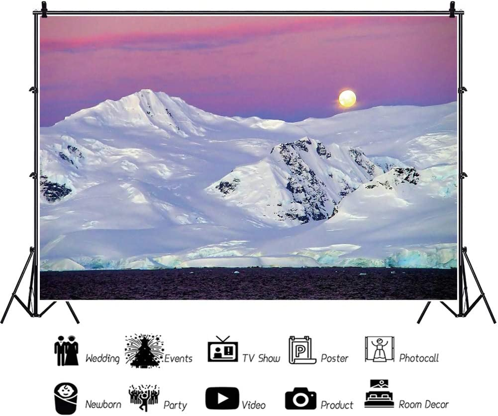 YongFoto 10x9ft White Snow Mountain Backdrop Sunrise Sea Photography Background Antarctica Arctic Adventure Travel Theme Party Banner Interior Decor Kids Adult Portrait Studio Props Wallpaper