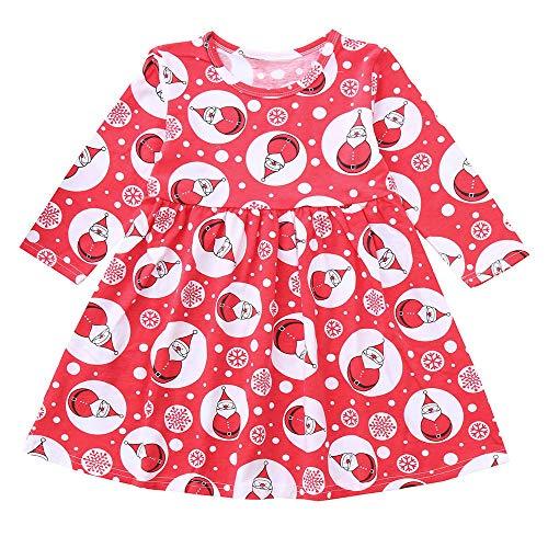 FIRERO Toddler Kid Baby Girls Long Sleeve Snowman Print Mini Dress Christmas Outfits Clothes (Jewels Snowman Christmas)