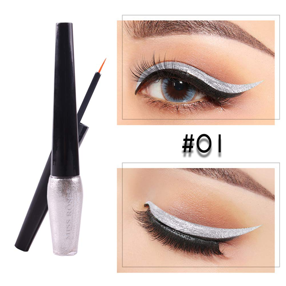 Taykoo Metallic colored Glitter Eyeshadow Waterproof Liquid Eye Pencils Make up Eyeshadow Shining Shimmer Eyeshadow Cosmetics Tool (#06)