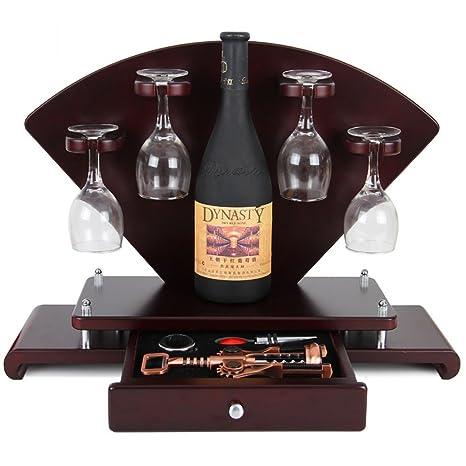 Estante de Madera para Vino - Creativo Estante de Vino para Bar/Porta Copa/