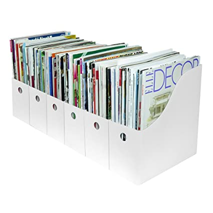 Evelots Set Of 6 Magazine File Holders Desk Organizer, File Storage With  Labels, White