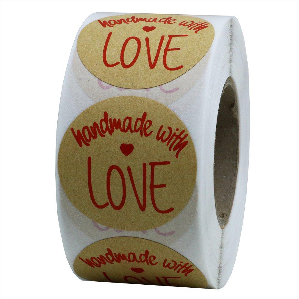 Hybsk (TM) 3, 8cm inch Round Kraft realizzato a mano con amore adesivi con Red font totale 500etichette adesive per rotolo 1 Roll