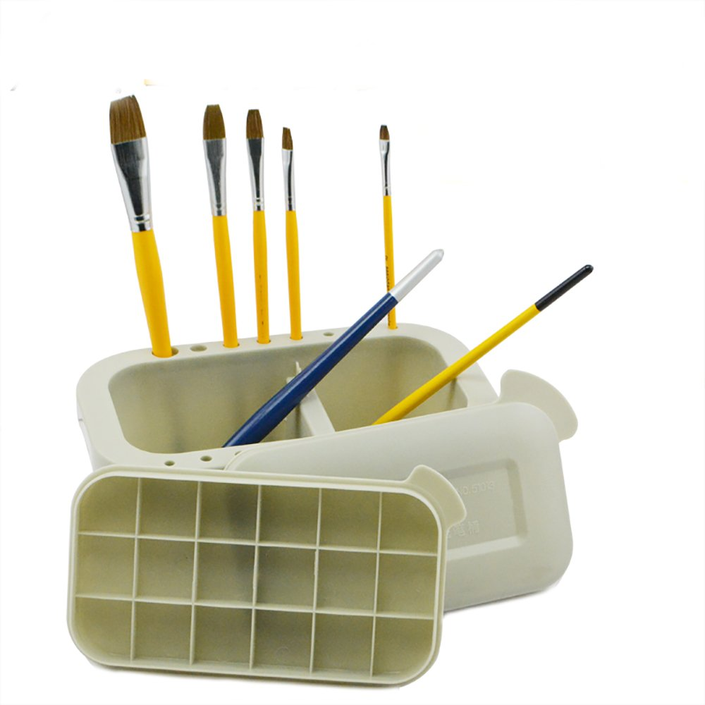 Artist Brush Basin Plastic Multi-Functional Brush Washer, Holder and Palette Brush Tub (Plastic)