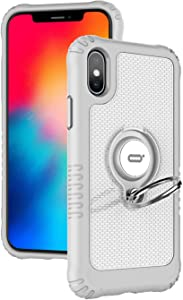 """ICONFLANG Compatible Phone Case for iPhone Xs/for iPhone x 5.8"""" with Ring Kickstand 360 Degree Rotating Drop Airbag Protection Shock Absorption Case [Compatible Magnetic Car Mount case] (White)"""