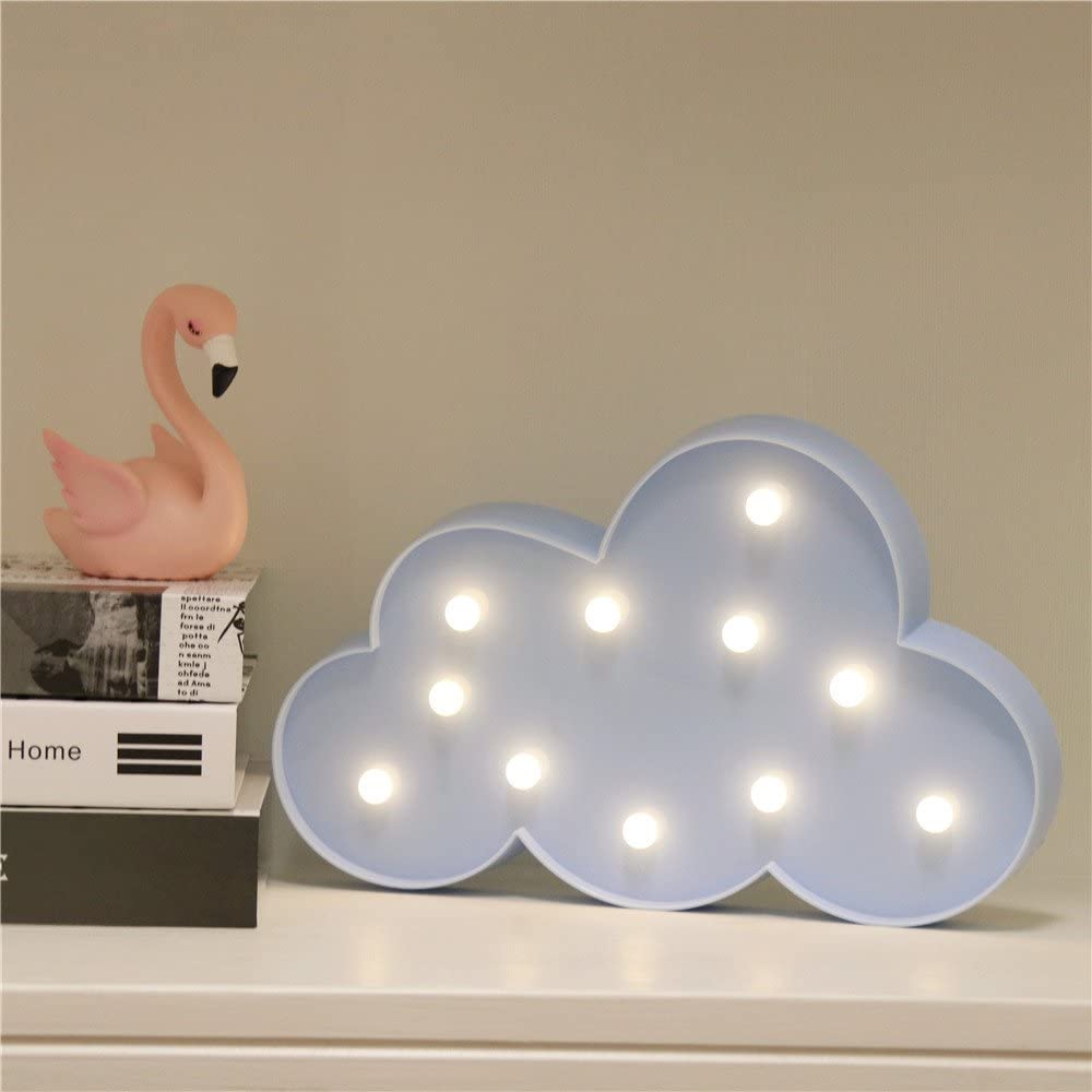 GUOCHENG Cloud Shaped LED Night Light Battery Operated LED Girls Light Sign Decorative Table Lamps for Baby Children Bedroom Party Accessories Blue-L