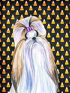 Shih Tzu Candy Corn Halloween retrato Bandera, poliéster, Multicolor, grande