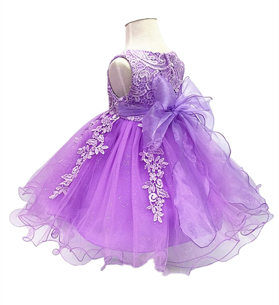 H.X Baby Girl's Lace Gauze Christening Baptism Wedding Dress with Petticoat (24M/Fit 18-24 months, Purple)