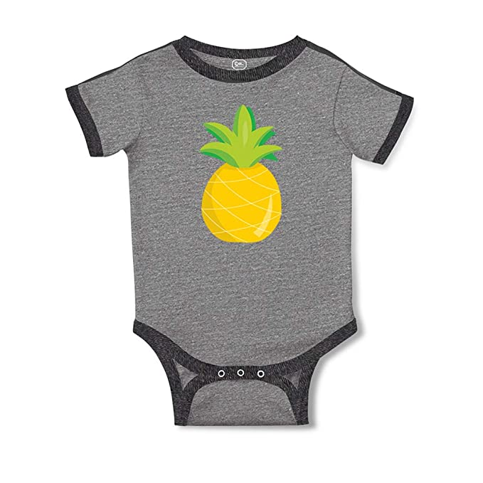 Cute Rascals Pineapple Nude Short Sleeve Taped Neck Boys-Girls Cotton Baby  Soccer Bodysuit Sports