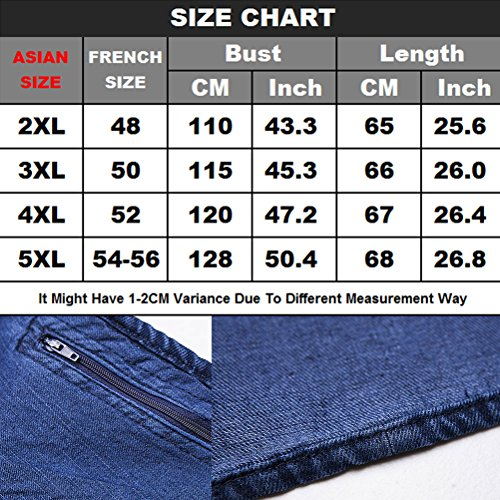 tela Day Zhhlaixing Azul Mens Waistcoat for Fishing Outdoor Buena Gift Denim Vest Working Father's Multipocket TTxOwpCq