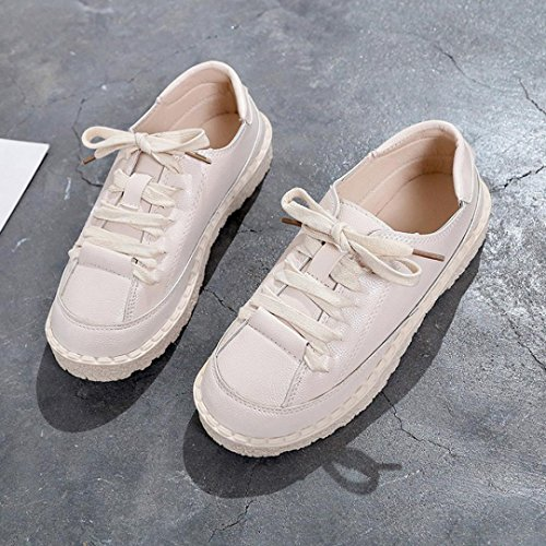 Boots Up FALAIDUO Lace Girls Flat Beige Leather Fashion Sports Casual Teen Shoes Shoes Short Women's Ankle 6Pwrq6v