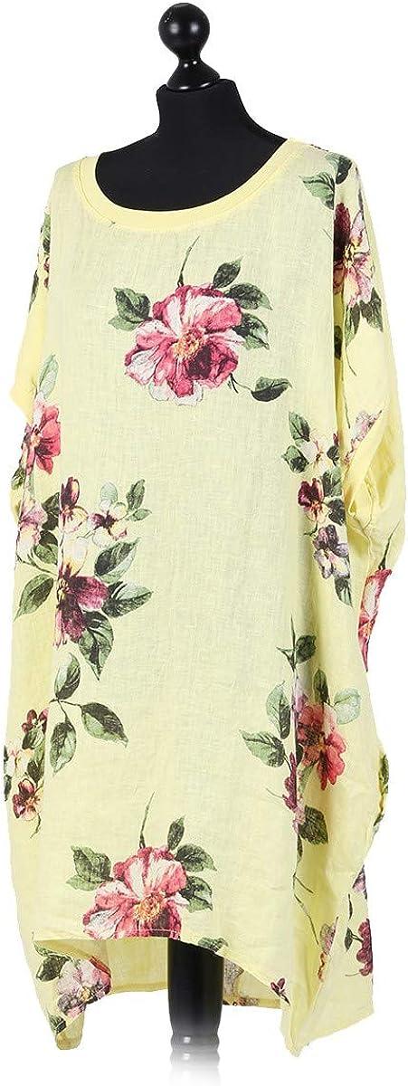 Nouveau Femmes Italien Lagenlook Manche longue 2 poches originales Floral Oversize Robe