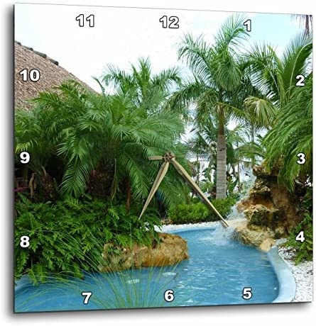 3dRose dpp_26492_3 Tropical Oasis-Wall Clock, 15 by 15-Inch