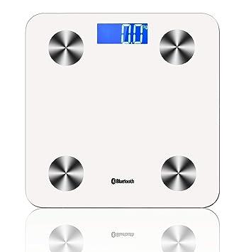 ZHESHEN Báscula Escala De Grasa Corporal con Bluetooth Y App para Móviles Andriod E iOS Inteligente con Medidora Composición Medidas De BMI, Masa Muscular, ...