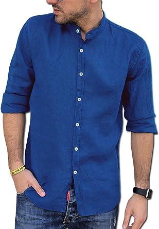 CAMICIE & dintorni Camisa de puro lino Coreana talla S, M, L, XL, XXL, 3XL – Slim – Hombre – Manga larga Art. A20
