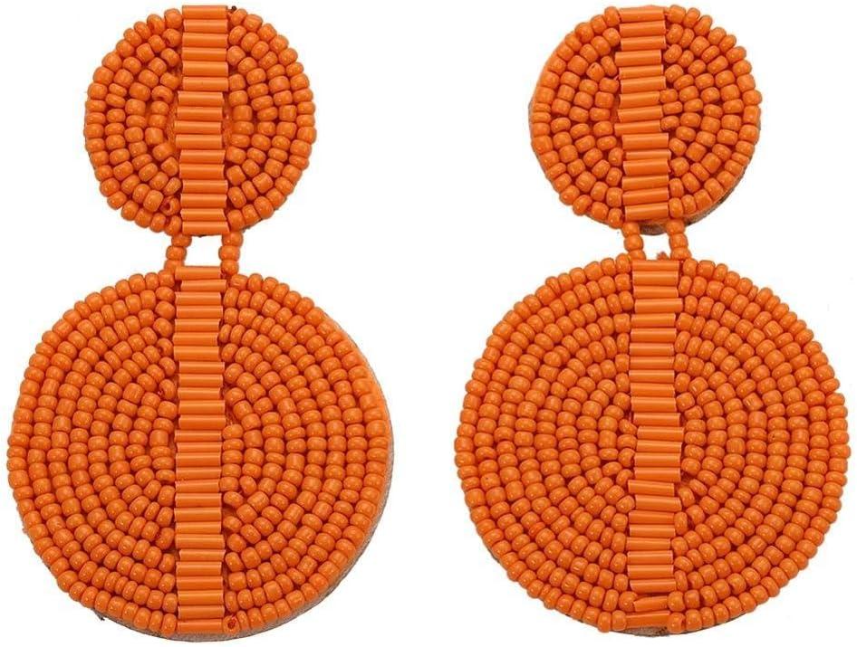 CJMDEH Pendientes,Naranja, Señoras Moda Aretes Colgantes Biselado Señoras Todas Ellas Artesanales Colgantes Novia Boda Declaración Parte De Joyería Accesorios Joyas