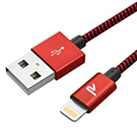 Rampow RAMPOW07 - [MFI certifié Apple] Câble Lightning vers USB en Fibre de Nylon Tressé - Chargeur iPhone - Rouge 1m/3.3ft [Nouvelle Version]