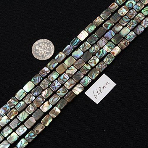 SHG Store 6x8mm Rectangle Natural Abalone Shell Beads Strand 15