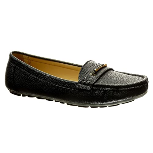 Angkorly - Zapatillas Moda Mocasines Slip-on Mujer metálico Perforado tacón Plano 0 CM: Amazon.es: Zapatos y complementos