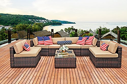 Cheap PATIOROMA Outdoor Patio Furniture Set, 10-Piece Sectional Sofa Set All-Weather Brown Wicker Furniture with Beige Cushions,Double Glass Coffee Tables