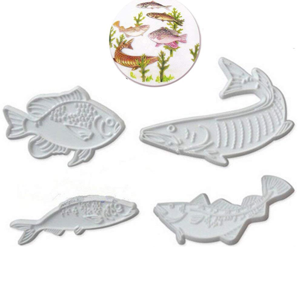 Anyana 4pcs set Fish Plastic Cookie impression Cutter Cake decorating fondant Mold Tool Sugar Paste Baking Mould stamps Pastry