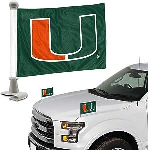 FANMATS ProMark NCAA Miami Hurricanes Flag Set 2-Piece Ambassador Style, Team Color, One Size