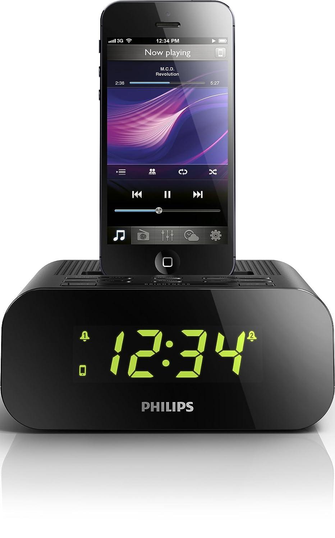 Philips AJ3275D - Radiodespertador con dock Lightning (iPhone 5/iPod 7), Negro (importado): Amazon.es: Electrónica
