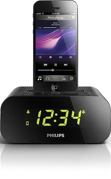 Philips AJ3275D - Radiodespertador con dock Lightning (iPhone 5/iPod 7), Negro