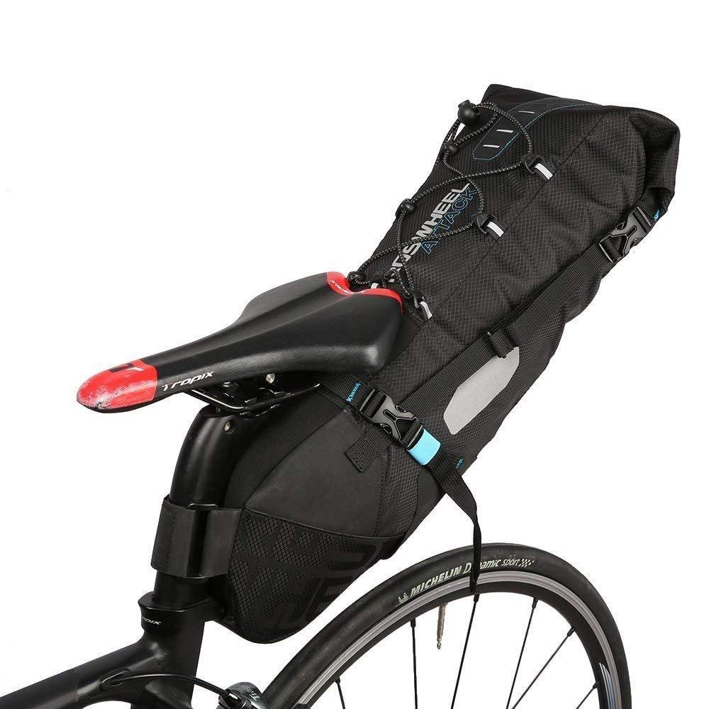 MOOZO 自転車サドルバッグ 100%防水 10L 自転車シートポスト サドルパニエ サイクリングストレージ シート下パック テールポーチ 修理キットバッグ 折りたたみ式 マウンテンMTBバイク リアラックシートバッグ 反射ストリップ付き  ROSEWHEEL B07GTY4CGP