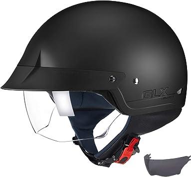 Motorcycle Half Helmet Dual Sun Visor Scooter Chopper Motorbike Unisex Helmet
