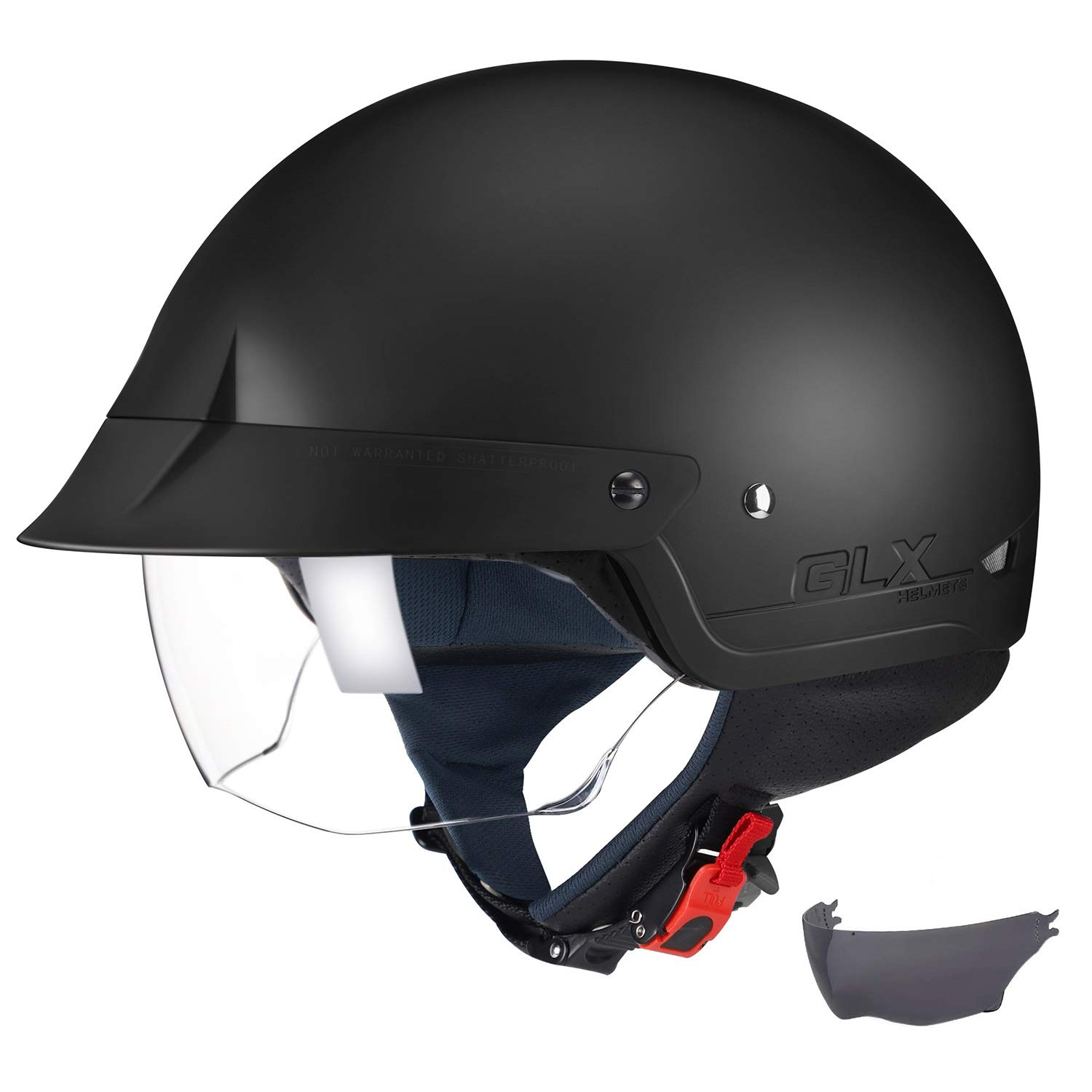 GLX Unisex-Adult Size M14 Cruiser Scooter Motorcycle Half Helmet with Free Tinted Retractable Visor DOT Approved (Matte Black, Medium)