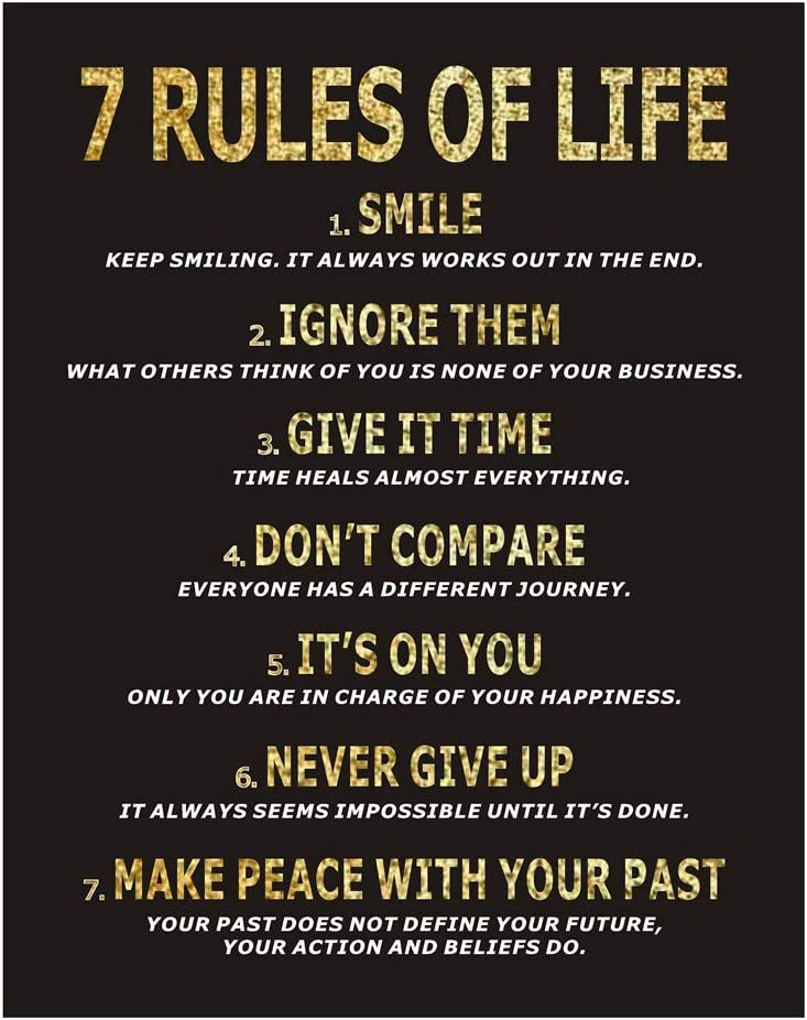 Homanga 7 Rules of Life Motivational Poster, 11 x 14 Inch Inspirational Wall Art, Motivational Wall Art Print, Quotes Wall Decor for Classroom, Bedroom, Home, Office