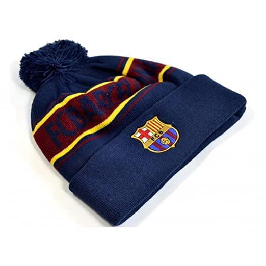 f2ea351f866 Amazon.com  FC Barcelona Unisex Knitted Bobble Hat (One Size) (Navy ...