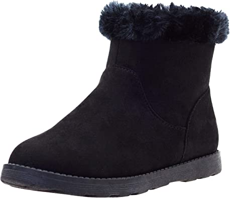 KIDS GIRLS CHILDRENS FAUX FUR SNUGG WARM WINTER ANKLE LINED SHOES BOOTS SZ 13-5