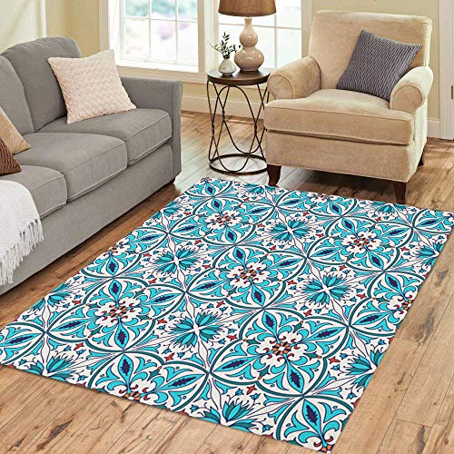 (Semtomn Area Rug 3' X 5' Beautiful Colored Pattern and Portuguese Tiles Azulejo Talavera Moroccan Home Decor Collection Floor Rugs Carpet for Living Room Bedroom Dining Room)