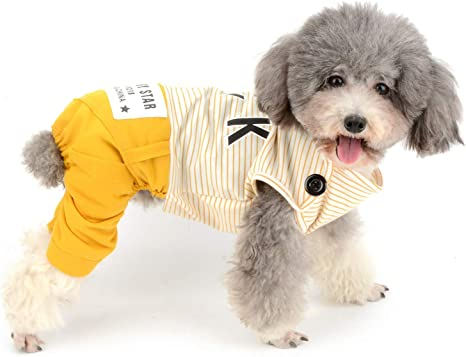 ZUNEA Pijamas para Cachorro Perros Pequeños a Rayas Mono de Algodón Acogedor Pijama para Mascotas Gatos Niña Niño Ropa de Dormir Pijama con Patas para ...