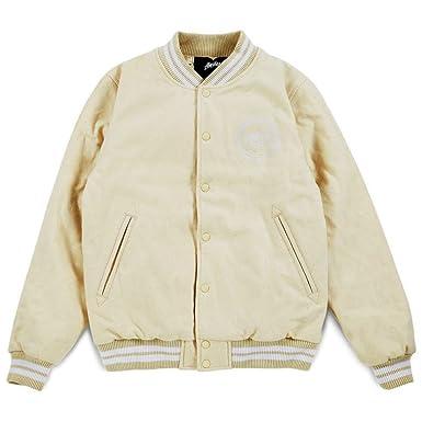 933797df818c Stussy Stock Varsity Jacket - Off White-L  Amazon.co.uk  Clothing