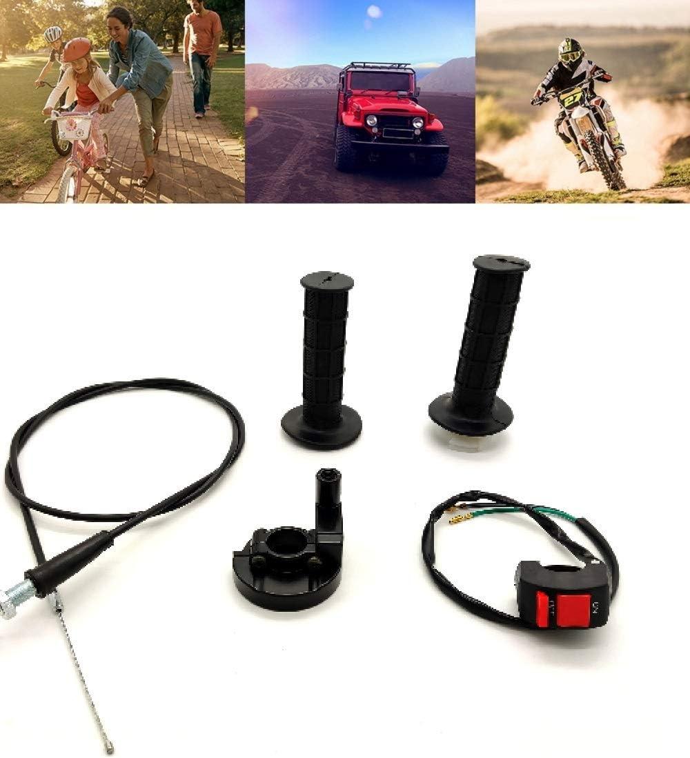 22mm Twist Throttle Accelerator Handle Set with Kill for 50cc 110cc150cc 250cc Mini Bike Atv Quad Pit Bike Dirtbike Handle Grip Cable Throttle Clamp