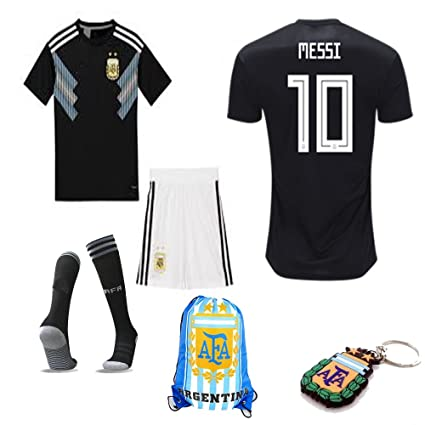 los angeles 5328f ae1a3 Argentina World Cup 2018 18 Kid Youth Replica L. Messi Jersey Kit : Shirt,  Short, Socks, Bag, PVC Key