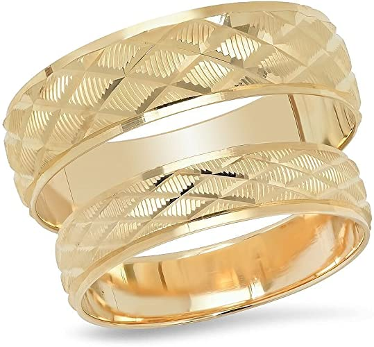 Choose a Size 14K Solid Yellow Gold His /& Hers Matching Diamond Shape Design Wedding Band Ring Set