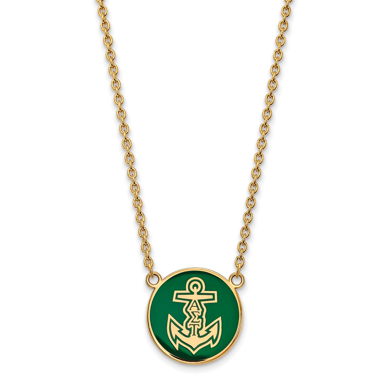 Logoart Sterling Silver Gp Alpha Sigma Tau Large Enamel Pendant Necklace