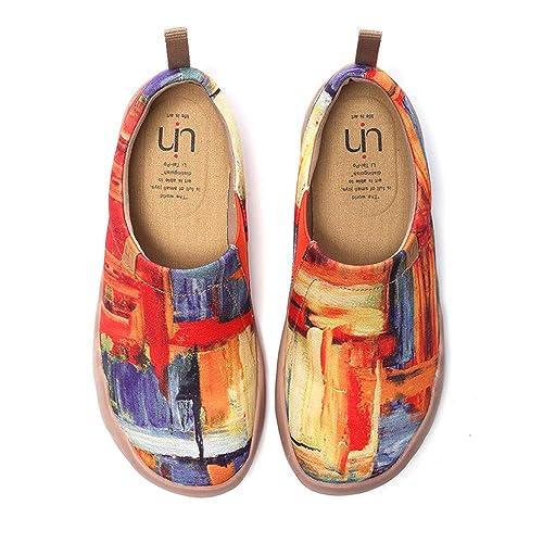UIN Chaussures Femme Confort, Toile Chaussures de Voyage Imprimées Baskets pour Femmes, Originales Bateau Mocassins Multicolore Plates Loafers